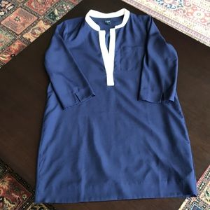 JCREW NAVY BLUE TUNIC DRESS. LINED. SIZE 10.